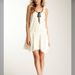Lucca Couture Mini Dress M Lace Ivory Tie NEW